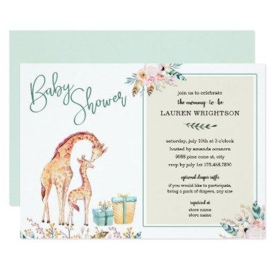 Boho Giraffe Baby Shower neutral gender invite