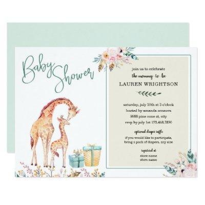 Boho Giraffe Baby Shower neutral gender invite