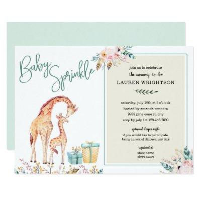 Boho Giraffe Baby Sprinkle neutral gender Invitation
