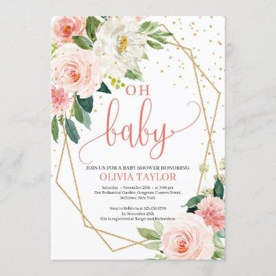 Boho Gold Geometric BLush Pink Floral Oh baby Invitation