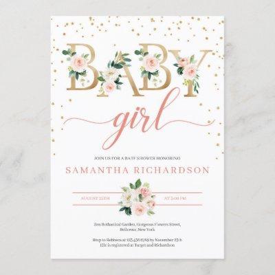 Boho Gold Letters Baby Shower Invitation Blush