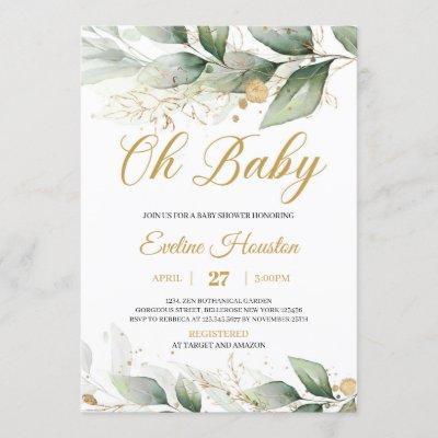 Boho greenery eucalyptus leaves oh baby shower invitation