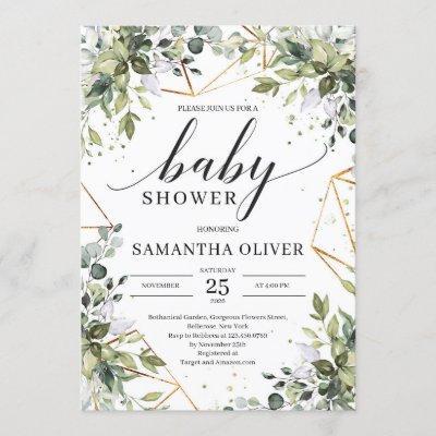 Boho greenery foliage and gold frame baby shower invitation