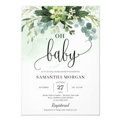 Boho greenery succulent foliage floral oh baby invitation