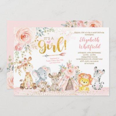 Boho Jungle Safari Blush Floral Girl Baby Shower Invitation