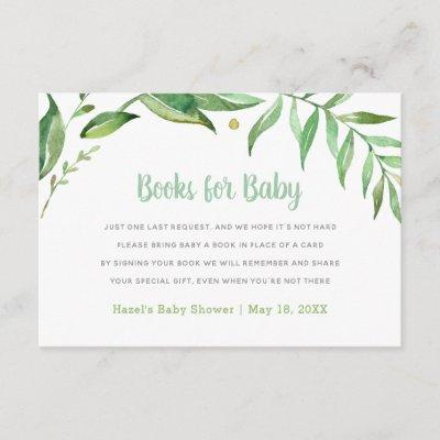 Boho Leaves Baby Shower Book Request Card