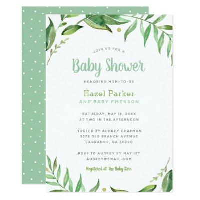 Boho Leaves Baby Shower Invitations