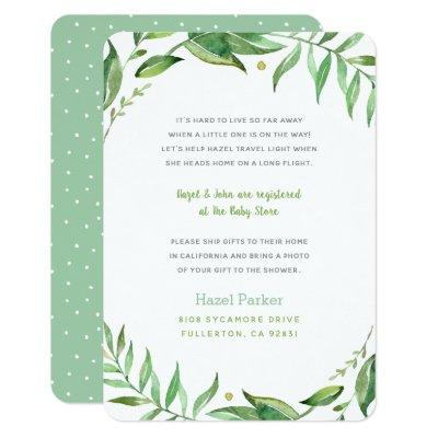 Boho Leaves Long Distance Baby Shower Insert Invitations