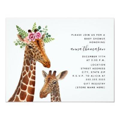 Boho Mama + Baby Giraffe Baby Shower Invitation