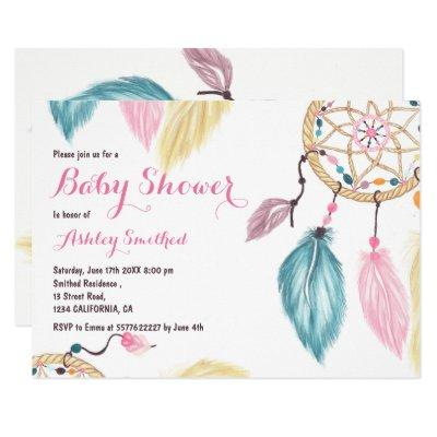 Boho pastel dreamcatcher feather pink baby shower invitation