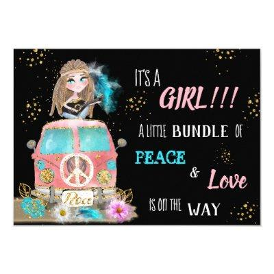 *~* Boho Peace & Love Hippie VW Van Bus GIRL Invitation