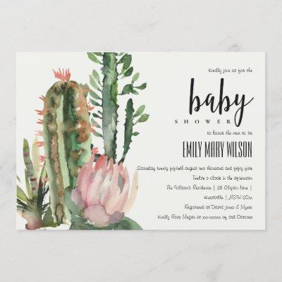 BOHO PINK FLORAL DESERT CACTI FOLIAGE BABY SHOWER INVITATION