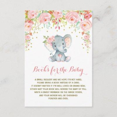 Boho Pink Floral Elephant Bring a Book Insert Card