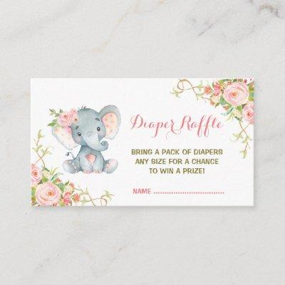 Boho Pink Floral Elephant Diaper Raffle Ticket Enclosure Invitations