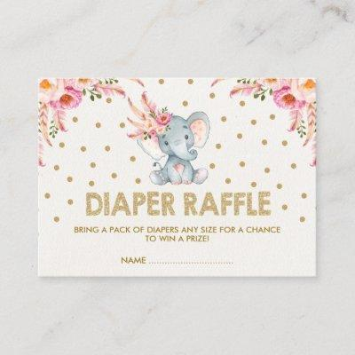 Boho Pink Flowers Elephant Diaper Raffle Ticket Enclosure Card