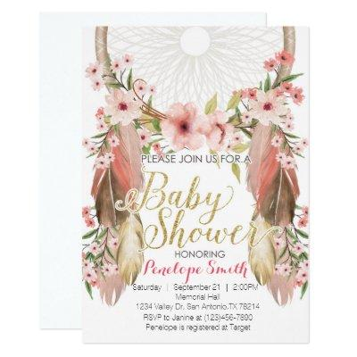 Boho Pink Gold Dreamcatcher Baby Shower Invitations