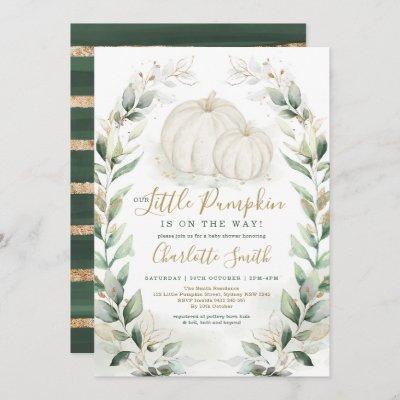 Boho Pumpkin Fall Greenery Gold Wreath Baby Shower Invitation