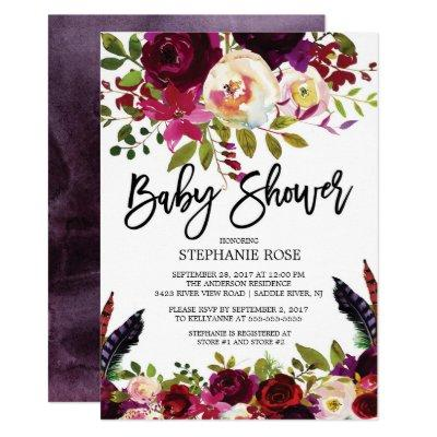 Boho Rose Purple Floral Baby Shower Invitations