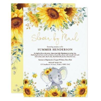 Boho Sunflower Elephant Baby Shower By Mail Invitation