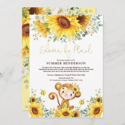 Boho Sunflower Monkey Baby Shower By Mail Invitation