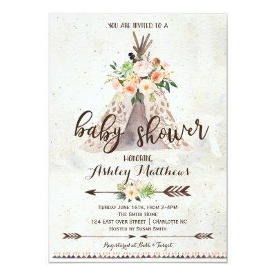 Bohemian Baby Shower Invitations Baby Shower Invitations Baby