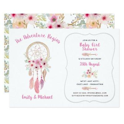 Boho Tribal Baby Girl Shower Dream Catcher Invitations