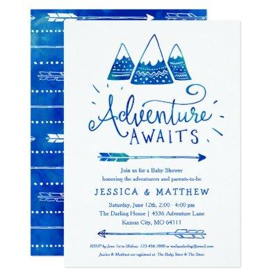 "Boho Tribal Blue ""Adventure Awaits"" Baby Shower Invitation"