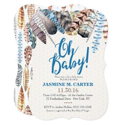 Boho Tribal Feathers Watercolor | Baby Shower Boy Invitations