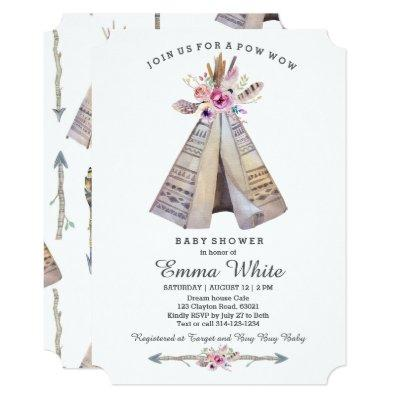 Boho Tribal Teepee Floral Baby Shower Invitation