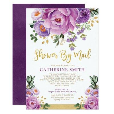 Boho Violet Gold Floral Girl Baby Shower By Mail Invitation