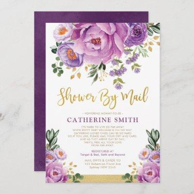 Boho Violet Gold Floral Girl Baby Shower By Mail Invitation