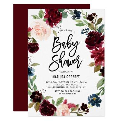 Boho Watercolor Autumn Floral Wreath Baby Shower Invitation