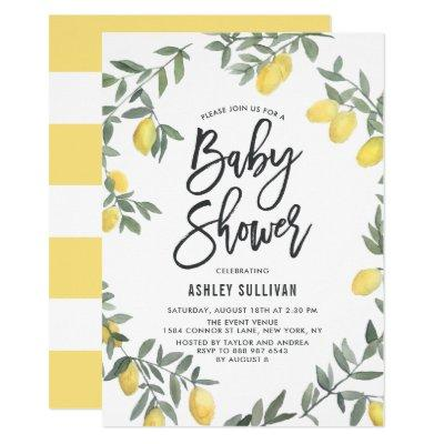 Boho Watercolor Lemon Wreath Baby Shower Invitation