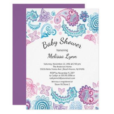 Boho Watercolor Pink Blue Paisley