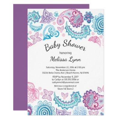 Boho Watercolor Pink Blue Paisley Baby Shower Invitation