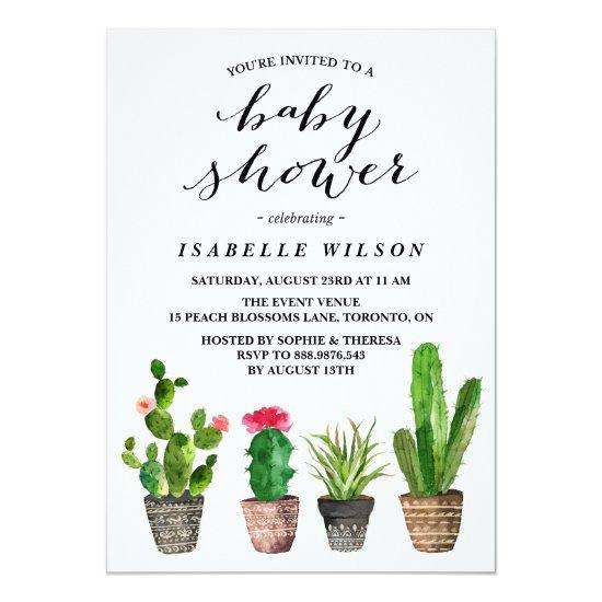 Boho Watercolor Succulents Invitations