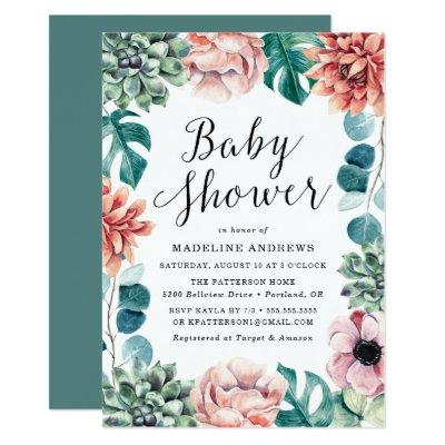 Boho Watercolor Succulents Baby Shower Invitations