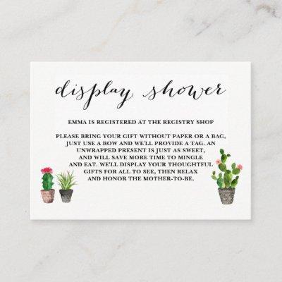 Boho Watercolor Succulents Display Shower Enclosure Card