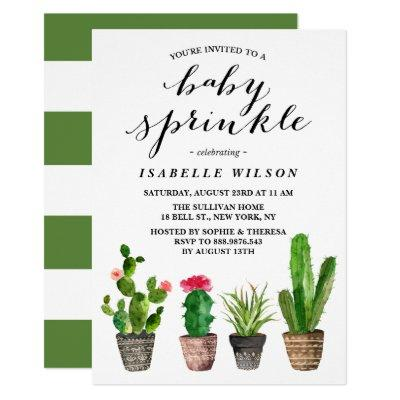 Boho Watercolor Succulents Summer Baby Sprinkle Invitations
