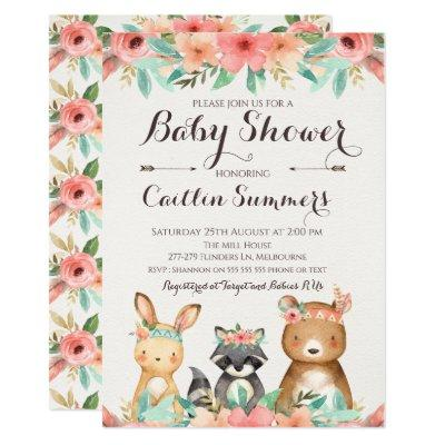 Boho Woodland Animals Baby Shower Invitation