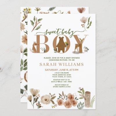 Boho Woodland Animals Sweet Baby Boy Baby Shower Invitation