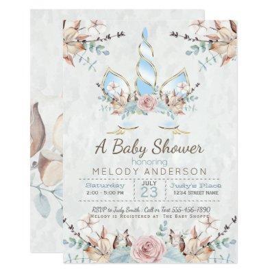 BOHO Woodland Floral Unicorn Baby Shower Blue Invitations