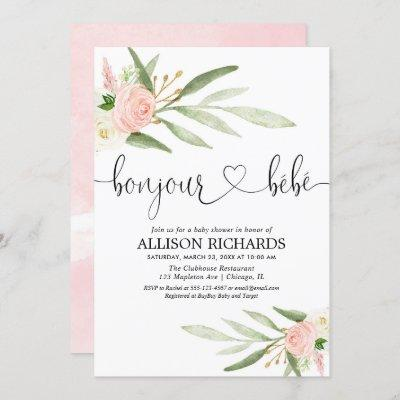 Bonjour bebe French Paris floral girl baby shower Invitation