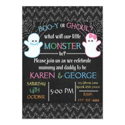 Boo-y or Ghoul Halloween Gender Reveal Invite