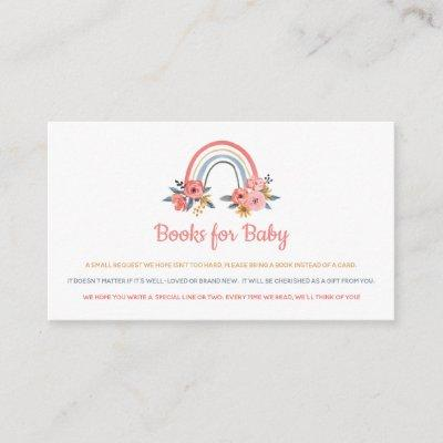 Book Request Baby Shower Rainbow Floral Colorful Enclosure Card