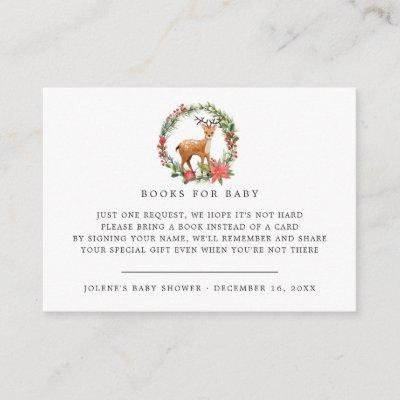 Book Request | Christmas Reindeer Baby Shower Enclosure Card