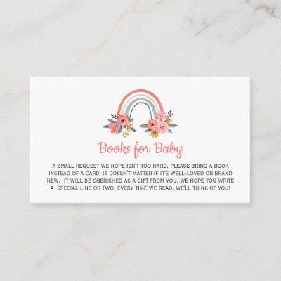 Book Request for Baby Shower Floral Rainbow Enclosure Card