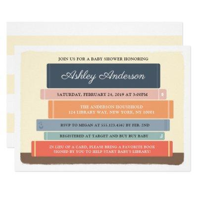 Book Theme Library Baby Shower Invitations