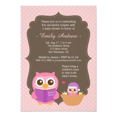 Book Themed, Pink Cute Owl Baby Shower Invitations
