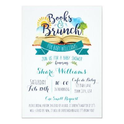 Books and Brunch Baby Shower Invitations - Blue